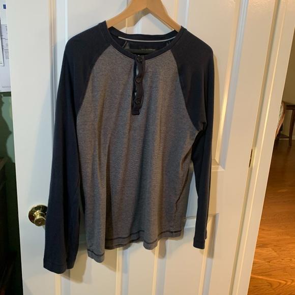 Men's Banana Republic large grey/navy cotton shirt